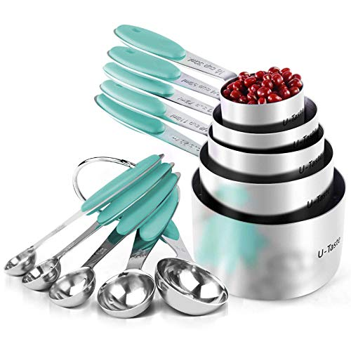 U-Taste 18/8 Stainless Steel Measuring Cups and Spoons Set of 10 Piece