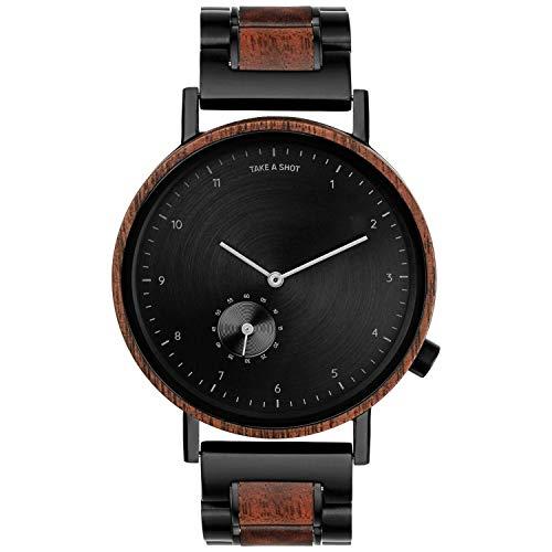 TAKE A SHOT Holzuhr - Holz Armbanduhr für Herren mit schwarzen Holzarmband, Analoge Herrenuhr mit Gehäuse aus Holz, Durchmesser 42 mm, Nelson