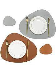 Olrla Dubbelzijdige Placemat en Coaster Sets van 2, PU-leer Waterdicht Hittebestendig Afveegbare Eettafel Matten voor Thuis Keuken Restaurant Indoor Outdoor (Bruin/Grijs)