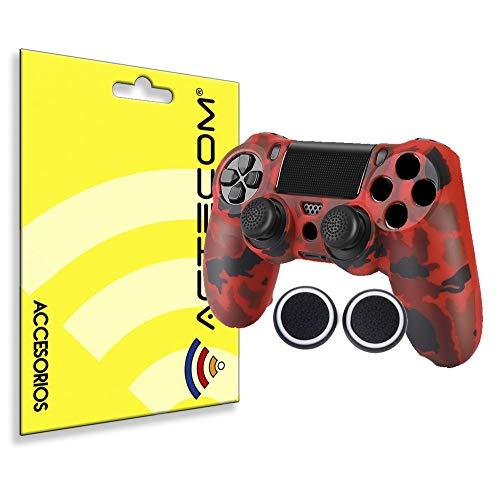 ACTECOM® Funda Carcasa + Grip Silicona Camuflaje Mando Sony PS4 Playstation 4 Camuflaje Rojo