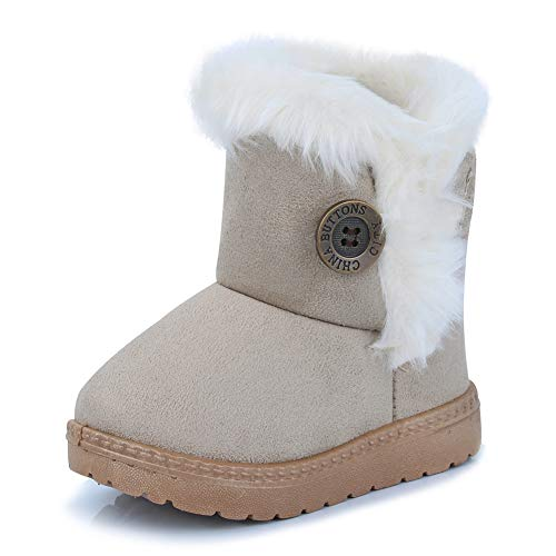 CIOR Fantiny Toddler Snow Boots for Baby Girl Fur Outdoor Slip-on Boots (Toddler/Little Kids) TX-nk-beige26