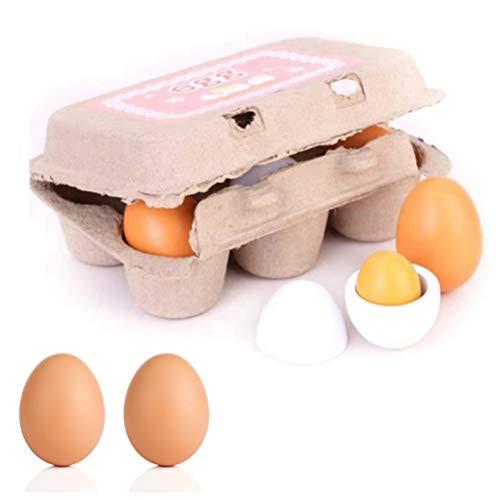 1 Stück Küche Spielzeug Teller Utensilien Haus Spielset Holz Vor-Bildung Spielzeug Waffeleisen Simulierte Eier Pizza für Kinder Kleinkinder Spielen Haus
