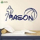 fancjj Vinyle Sticker Sport garçon De Basketball Personnalisé Personnalisé Nom Enfant Chambre Maison Art Décoration Autocollants 42X87cm