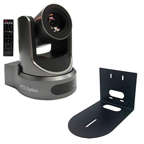 PTZOptics 20X-NDI-WH 1080p Resolution Broadcast and Conference Camera+ HCM-1 Small Universal Wall Mount Bracket, White- PTZ Camera Streaming Bundle (Gray)