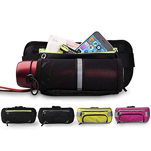 Running Waist Bag with Water Bottle Holder, Fanny Packs with Adjustable Running Belt, Reflective Gear for Cycling, Walking, Hiking, Can Hold 7'' Phones Fit for iPhone8 Plus (Black & Fluorescent)