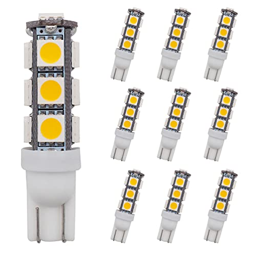 GRV T10 921 194 C921 13-5050 SMD Wedge LED Bulb Lamp Super Bright Warm White DC 12V Pack of 10