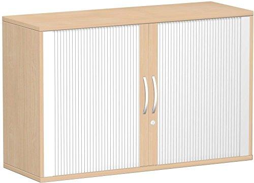 Querrollladenschrank, Rolladenschrank Aktenschrank, Büroschrank aus Holz, Oberboden 25 mm, mit Standfüßen, abschließbar, 1200x425x798, Silber/Buche, Geramöbel