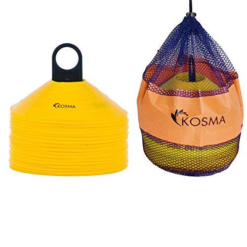 Kosma - Set di 50 Coni per Allenamento e agilità, con Supporto, Colore: Giallo