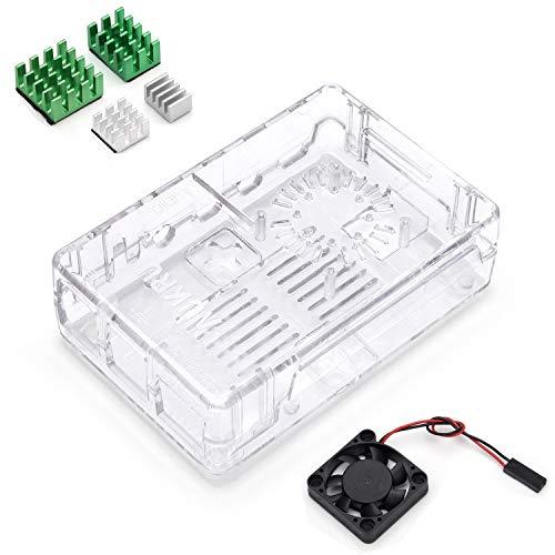 Aukru transparent Gehäuse/Case für Raspberry Pi 4 Modell B mit Kühlung Lüfter, 4 Set AluminiumKühlkörper,kompatibel mit Raspberry Pi 4 Modell B