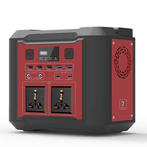 Mobile Stromversorgung Generatoren Tragbarer Power Station, 296Wh/80000mAh Energiespeicher Notstrom mit USB DC/AC Wechselrichter und LCD Anzeige LED licht Für Camping Wandern Hausgarten (Rot)