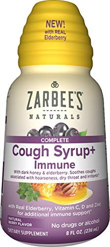 Zarbee's Naturals Complete Daytime Cough Syrup + Immune with Dark Honey, Real Elderberry, Vitamin C, D & Zinc, 8 oz Bottle