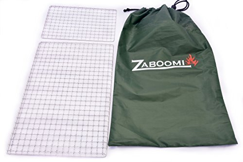 """Zaboomi Stainless Steel Mesh Grill, Perfect for Camping, Bushcraft and Backpacking (10""""x14.25"""" & 10""""x6"""" Steel/Green)"""