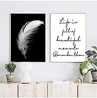 ポスターとプリントキャンバスフェザー引用絵画壁アート白黒写真リビングルーム北欧ミニマリスト装飾40x60cmフレームなし