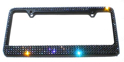 Mega Bling Black Diamond (Grey) License Plate (Black) Frame Rhinestone Sparkles Made with Swarovski Crystals