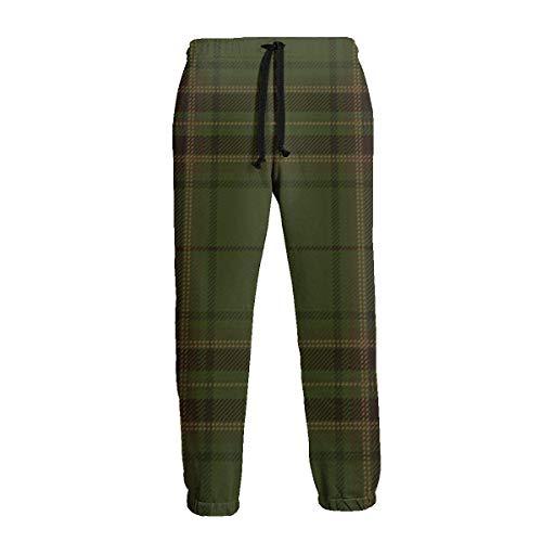 Hangdachang Pantalones de chándal de Hombre escocés Tradicional a Cuadros de tartán Verde marrón Pantalones de chándal cómodos XL