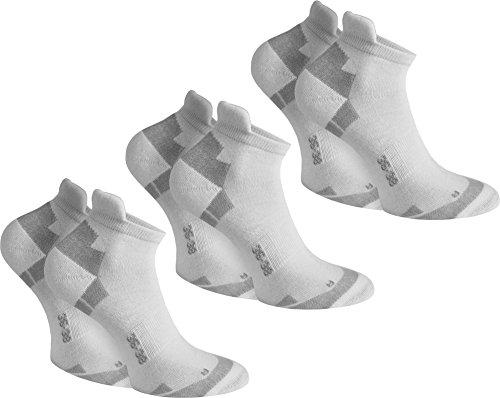 normani 6 Paar Coolmax Sport Sneaker Socken - Laufsocken mit klimaregulierender Faser in Schwarz oder Weiß Farbe Weiß Größe 35/38