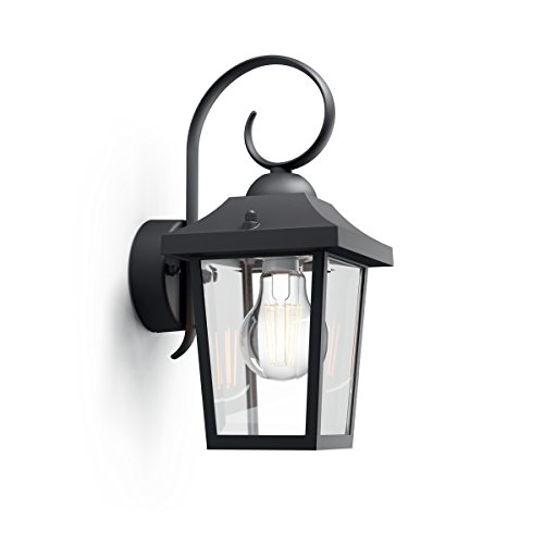 Philips myGarden Buzzard Vintage Wall Lantern, Black