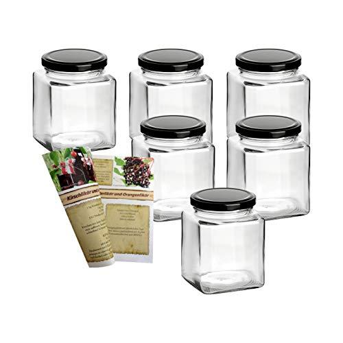 gouveo 6er Set Einmachgläser Quadrat 380 ml mit Drehverschluss Schwarz - Marmeladengläser, Vorratsgläser, Wurstgläser, Einweckgläser incl. 28-seitige Flaschendiscount-Rezeptbroschüre