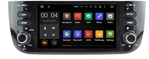 Sunshine Fly 6,2 pouces Android 9.0 Quad core 1024 * 600 Écran tactile capacitif 2 DIN DVD Navi Autoradio GPS Stéréo pour Fiat Grande Punto Linea 2012-2015 Lecteur audio Bluetooth Hotspot Wifi 3G SWC