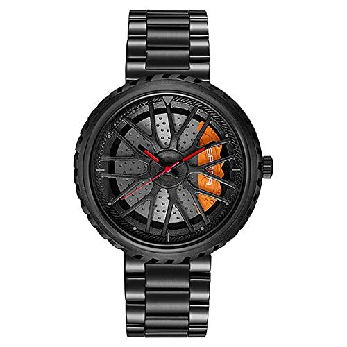STST Reloj de Cuarzo para Hombre Relojes de Ruedas de Coche Reloj Impermeable de Ocio para Negocios,Negro