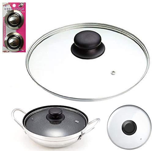 14cm Tempered Glass PAN LID & PK2 Pan Lid KNOBS -Replacement Wok Lid, Stir Fry Pan Lid, Stock Pots Lid, Casserole Pan Lid, Saucepan Lid (14cm Pan Lid)