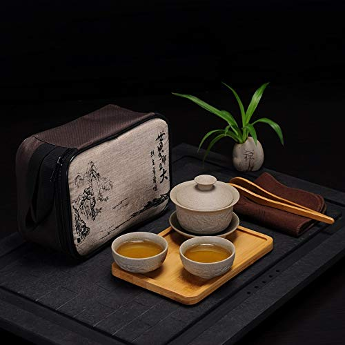 HaiNing Zheng Travel Tea Set draagbare outdoor steengoed pot met vier koppen droge bol keramiek theepot kung fu bamboedienblad (Color : 7 pieces of Dragon Bowl)