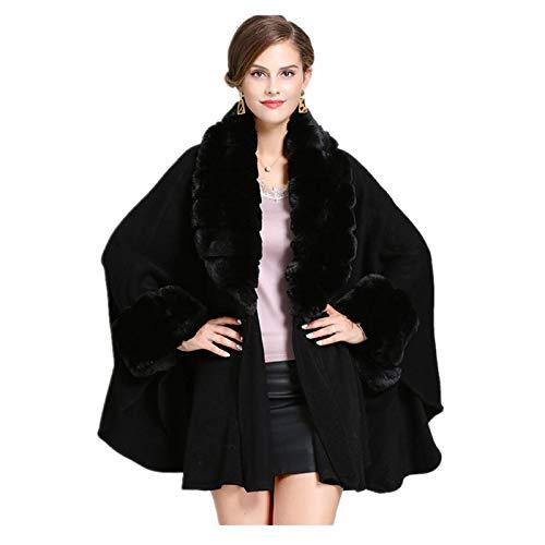 Abrigo de invierno cálido nuevo cárdigan de mujer con cuello de piel cárdigan moda sólido poncho mangas largas de piel bufanda para niños