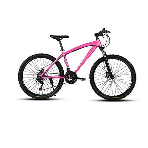 Vélo De Montagne Vitesse 24 Vitesses Conception De Frein à Disque à Double Amortisseur Adapté Aux Routes De Montagne Aux Routes Asphaltées Et Aux Autoroutes,Pink