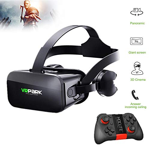 HUA JIE VR Smart Glasses, 360°Audio visual 3D VR Glasses Virtual Reality Box, Ergonomic Design, with Adjustable Lens and Comfortable Strap for iphone Samsung and Other 4.5-6.0 Inch Smartphones