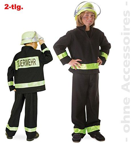 Faschingskostüm Feuerwehrmann schwarz, deutscher Fire Fighter, Kostüm für Karneval, Fasching, Spiel (98) (98)
