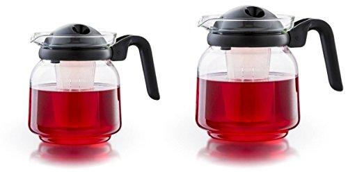Boral Glas Teekanne Venezia mit Deckelfilter + Teefilter Größe 1,0 L