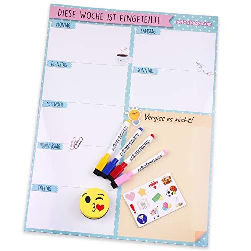 Magnetischer Wochenplaner, 4 bunte Marker, 12 Magnete, 1 Tafelschwamm   Kalender Kühlschrank Deutsch 43x32cm Wandtafel Küche   Organizer Erinnerung Einkaufsliste Menü   Ideale Geschenkbox