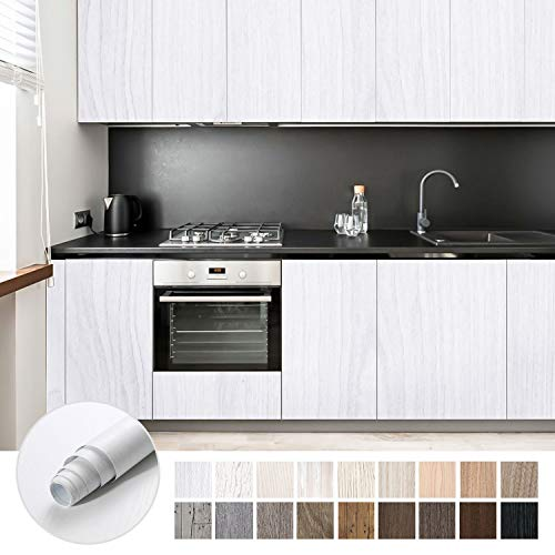 KINLO Papel Adhesivo Pintado Impermeable con la Imagen de Madera Pegatina de PVC para Decorar y Proteger Pegatina para Muebles Cocina Baño a Prueba de Agua de Moho 0.61 * 5M per Rollo, color Blanco