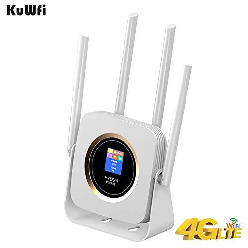 KuWFi 4G LTE Router SIM Card, WiFi Wireless Modem 4G CPE WiFi Router...