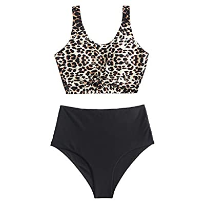 ZAFUL Women's Knotted Front Tankini Set High Waisted Bikini Scoop Neck Swimsuit Two Pieces Bathing Suit Leopard-A XL
