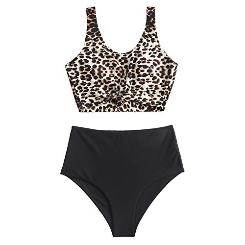 ZAFUL Women's Knotted Front Tankini Set High Waisted Bikini Scoop Neck Swimsuit Two Pieces Bathing Suit Leopard-A L