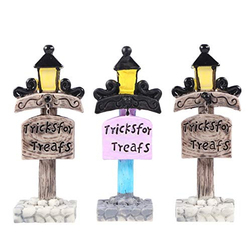 WINOMO 3 Pcs Dollhouse Miniature Réverbères Mini Résine Paysage Post Lampe Modèle Pot de Fleur Lumières pour Bricolage Artisanat Fée Jardin Suspendu (Couleur Aléatoire)