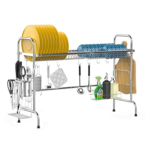 Over The Sink Dish Drying Rack iSPECLE Large Stainless Steel Above Sink Dish Rack with Utensil...
