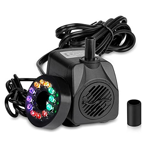 KooPower Mini Wasserpumpe mit 12 LEDs Kleines Aquarium 7W 450L/H, Noiseless Small Submersible Pump Garten Tauchpumpen mit 4 Bunten LED Licht für Garten Aquarium Teich Brunnen 1.4 m H-Max/Hubhöhe 95cm