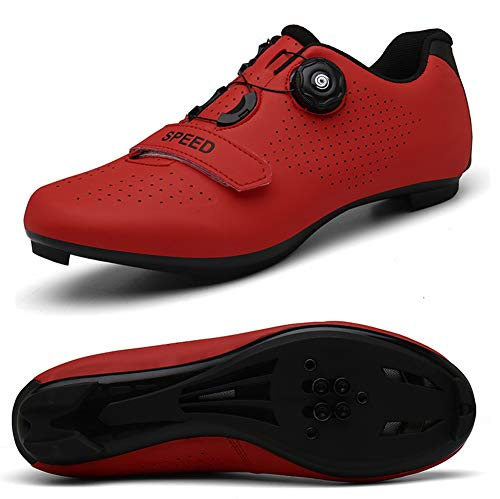 STEELEMENT.Herren Fahrradschuhe Spin Shoestring mit kompatiblen Stollen Peloton Schuh mit SPD und Delta für Männer Lock Pedal Fahrradschuhe, red-44