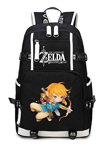 WANHONGYUE The Legend of Zelda Spiel Backpack Student Schultasche Laptop Rucksäcke Freizeittasche Daypack Schwarz-5