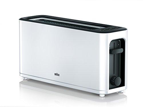 Braun HT 3110 WH Toaster | Langschlitz | Extrabreite Toastkammer | Herausnehmbare Krümelschublade | Aufwärm- und  Auftaufunktion | 7 Röstgrade | Separater Brötchenaufsatz | Weiß