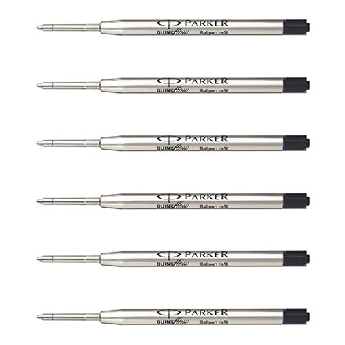 Parker QuinkFlow Ink Refill for Ballpoint Pens, Fine Point, Black Pack of 6 Refills (1782467)