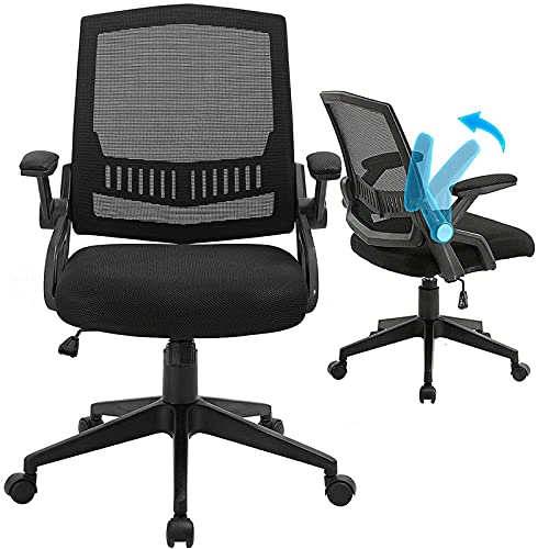 ANACCI Office Chair, Mid-Back Desk Chair with Ergonomic Back Support, Mesh Computer Chair with Thick Cushion and Flip-up Armrests & Rocking Backrest, Hold Up to 300LBS (Black)