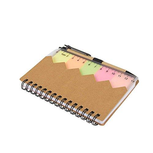 DDG EDMMS Spiral Notizbuch Spiralbuch Kraftpapier,Abdeckung Notizblock Tagebuch Notizheft mit Stift im Halter,14,3 * 10.3 * 1 CM