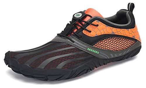 SAGUARO Hombre Mujer Zapatos Minimalistas Comodas Respirable Zapatillas de Trail Running Ligeras Calzado Barefoot Antideslizante para Gimnasio Fitness Senderismo Montaña, Naranja 39 EU