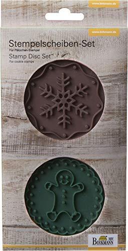 Birkmann Stempelscheiben-Set Gingerman & Snowflake 2-teilig, Silikon, braun/grün, 7 x 7 x 1 cm