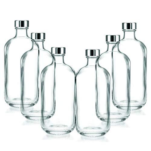 BrandPrint, Set di 6 Bottiglie in Vetro per Acqua Modello Artemide 1 Litro con Tappo a Vite in Alluminio. Per Bevande e Succhi.