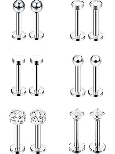 Sumind 6 Pairs Stainless Steel Nose Studs Tragus Bars Labret Bars Crystal Ball Body Piercing Jewelry, 6 Designs, 16 Gauge (Silver)