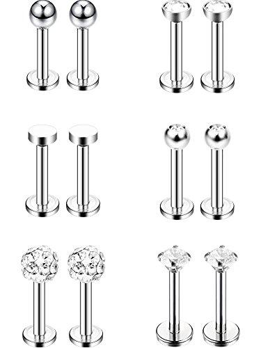 6 Paar Edelstahl Nasenstecker Tragus Bars Labret Bars Kristallkugel Piercing Schmuck, 6 Designs, 16 Gauge